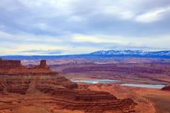Vista panorámica del parque de estado famoso del punto del caballo muerto, Utah fotografía de archivo