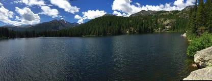 Vista panorámica del pico Longs en Rocky Mountain National Park Foto de archivo