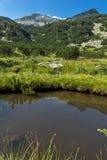 Vista panorámica del pico y del río de la montaña, montaña de Banderishki Chukar de Pirin Imagen de archivo