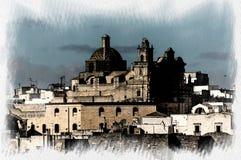 Vista panorámica del pueblo blanco de Ostuni en Salento en el mar adriático ilustración del vector