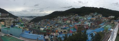 Vista panorámica del pueblo de la cultura de Gamcheon Fotografía de archivo libre de regalías