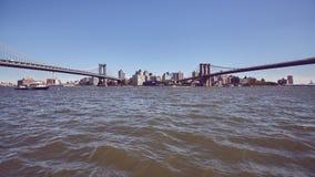 Vista panorámica del puente de Manhattan y de Brooklyn fotos de archivo libres de regalías