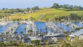 Vista panorámica del puerto deportivo, Auckland, Nueva Zelanda Fotografía de archivo