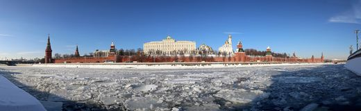 Vista panorámica del río y del día de invierno del Kremlin, Moscú, Rusia de Moskva Imagen de archivo