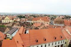 Vista panorámica del viejo centro de ciudad, Sibiu, Rumania Fotografía de archivo