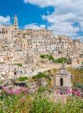 Vista panorámica en Matera en el distrito del ` de Sassi del `, Basilicata, Italia meridional Fotografía de archivo libre de regalías