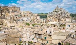 Vista panorámica en Matera en el distrito del ` de Sassi del `, Basilicata, Italia meridional Imagen de archivo libre de regalías