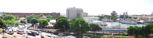 Vista panorámica extendida de la zona del puerto de Port Louis Imágenes de archivo libres de regalías