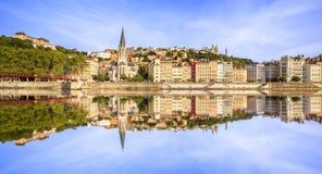 Vista panorámica grande de Lyon con el río Saone Imagen de archivo