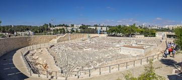 Vista panorámica grande del modelo de Jerusalén en el segundo templo fotografía de archivo
