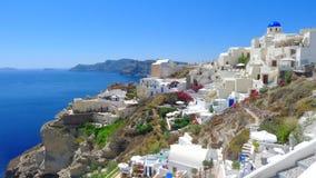 Vista panorámica hermosa de Oia, Santorini, Grecia. fotografía de archivo