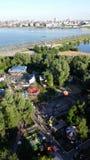 Vista panorámica hermosa del parque de atracciones en Kazán imagen de archivo