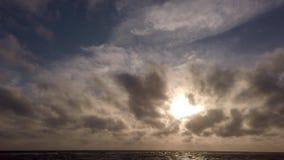 Vista panorámica impresionante del mar en la puesta del sol en sus rocas de la hora de oro y de una gaviota repentinamente en el  almacen de metraje de vídeo
