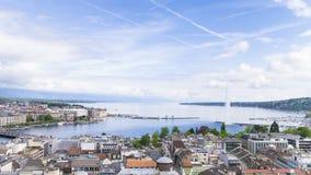 vista panorámica 4k de la ciudad de Ginebra, Leman Lake a