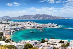 Vista panorámica a la ciudad de la isla de Mykonos en las islas de Cícladas, Grecia Foto de archivo