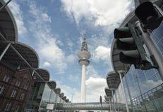 Vista panorámica a la torre de Hamburgo TV Imagenes de archivo