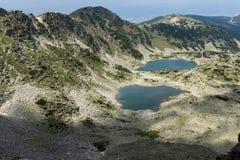 Vista panorámica a los lagos Musalenski del pico de Musala, montaña de Rila Imágenes de archivo libres de regalías