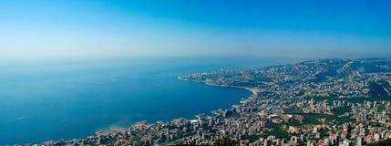 Vista panorâmica aérea à cidade de Jounieh e à baía, Líbano Fotos de Stock Royalty Free