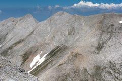 Vista panorâmica ao pico de Kutelo e ao Koncheto, montanha de Pirin Imagem de Stock
