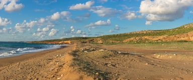 Vista panorâmica bonita da praia de Toxeftra ou da praia da tartaruga, Foto de Stock Royalty Free