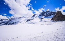 A vista panorâmica bonita impressionante de cumes Snowcapped da montanha de Bernese ajardina na região de Jungfrau, Bernese Oberl Foto de Stock Royalty Free