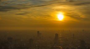 Vista panorâmica da antena do por do sol do Tóquio Foto de Stock
