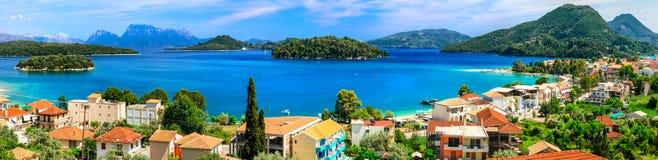 Vista panorâmica da baía de Nidri, ilha bonita de Lefkada Greece foto de stock
