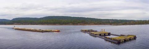 Vista panorâmica da baía na cidade de Ladysmith, Ingleses Colu Imagem de Stock