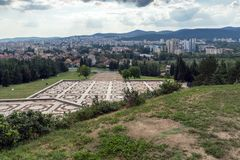 Vista panorâmica da cidade de Stara Zagora, Bulgária fotografia de stock