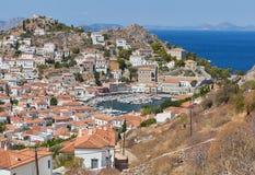 Vista panorâmica da cidade e do porto do Hydra Imagens de Stock