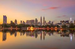 Vista panorâmica da cidade na manhã, Malásia de Kuala Lumpur fotos de stock