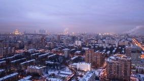 Vista panorâmica da construção do telhado do timelapse center de Moscou, Rússia vídeos de arquivo
