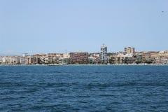 Vista panorâmica da costa de Santa Pola, Alicante do mar fotografia de stock