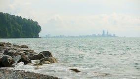 Vista panorâmica da costa do Mar Negro, marcos turísticos de Batumi, férias de verão video estoque