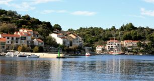 Vista panorâmica da Croácia de Racisce imagens de stock