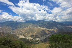 Vista panorâmica da garganta de Chicamocha perto de Bucaramanga em Santander, Colômbia Fotografia de Stock Royalty Free