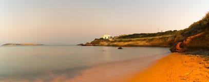 Vista panorâmica da igreja do pirgaki na ilha de Paros em Grécia Fotografia de Stock Royalty Free