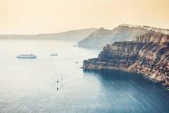 Vista panorâmica da ilha de Santorini, Grécia Fotografia de Stock
