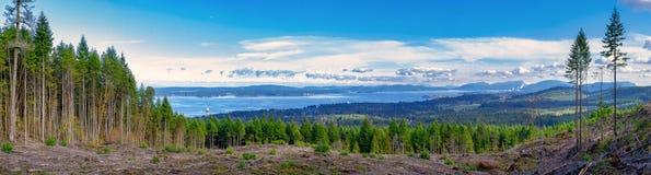 Vista panorâmica da linha costeira de Ladysmith da parte superior de uma montanha, Va Fotografia de Stock Royalty Free