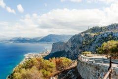 Vista panorâmica da montagem Pelegrino em Palermo, Sicília Italy foto de stock royalty free