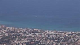 Vista panorâmica da montanha à cidade do mar, vista geral, vista bonita, recurso do mar, panorama filme