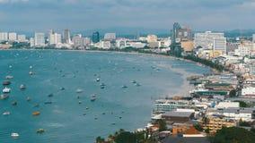 Vista panorâmica da praia da cidade de Pattaya e do golfo de Sião em Tailândia Tailândia, Pattaya, Ásia filme