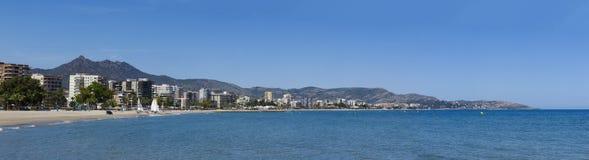 Vista panorâmica da praia de heliopolis na cidade do benicassim, sp Imagem de Stock Royalty Free