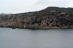 Vista panorâmica da praia e do mar de cristal de Sardinia Foto de Stock
