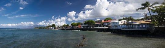 Vista panorâmica da rua dianteira de Lahaina, Maui, Havaí Imagens de Stock Royalty Free