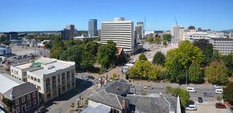 Vista panorâmica da skyline da cidade de Christchurch (Nova Zelândia). Imagem de Stock