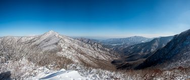 Vista panorâmica das montanhas cobertas com a neve Foto de Stock