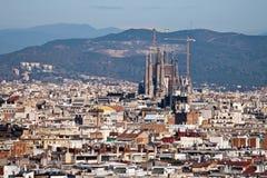 Vista panorâmica de Barcelona, Espanha fotografia de stock