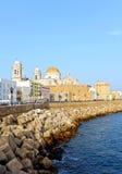Vista panorâmica de Cadiz com a catedral, a Andaluzia, Espanha Imagem de Stock