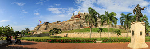 Vista panorâmica de Castillo San Felipe de Barajas, Cartagena de Índia, Colômbia fotos de stock royalty free